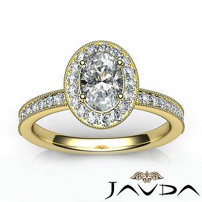 Bezel Set Milgrain Edge Halo Oval Diamond Engagement GIA F VS1 Clarity Ring 1Ct 9