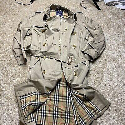Men 38 R BURBERRYS Vintage COAT Tan NOVA PRINT LINING Trench Overcoat Burberry