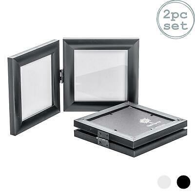 Double Photo Frame (Double Photo Frame Picture Frames Folding Standing Hinged Black 4x4)