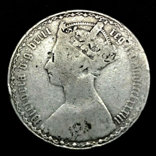 1883- UK- One Tenth of a Pound, One Florin Silver Antique Coin Km # 746.4 Die#1