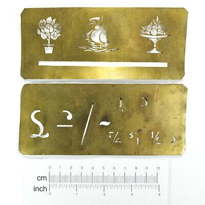 2 x Rare Antique Brass Stencil Templates Ship/Flowers/Comport Fruit Bowl Etc