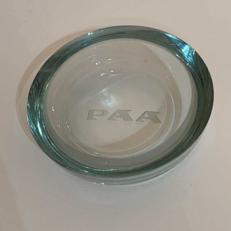 Pan Am Vintage Glass Ashtray Pan American Airways Heavy 2 lbs. Airlines