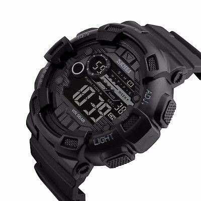 Black Rubber Watch - SKMEI Men's Watch G Style Sport Digital Display LED Shock Quartz Rubber Black