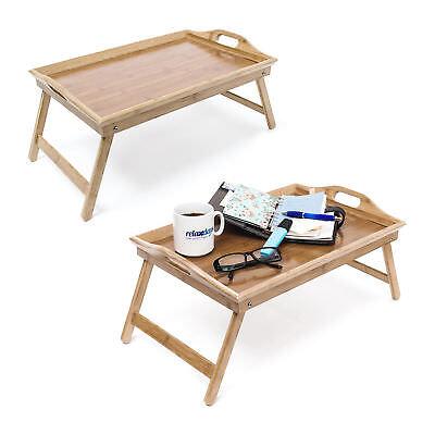 2er Set Betttablett Bambus Serviertablett klappbar Betttisch Tablett Knietisch - Bambus Set Klapptisch