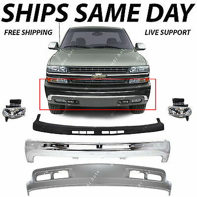NEW Complete Front Bumper Kit w/ Fog Lights For 1999-2002 Chevy Silverado 1500