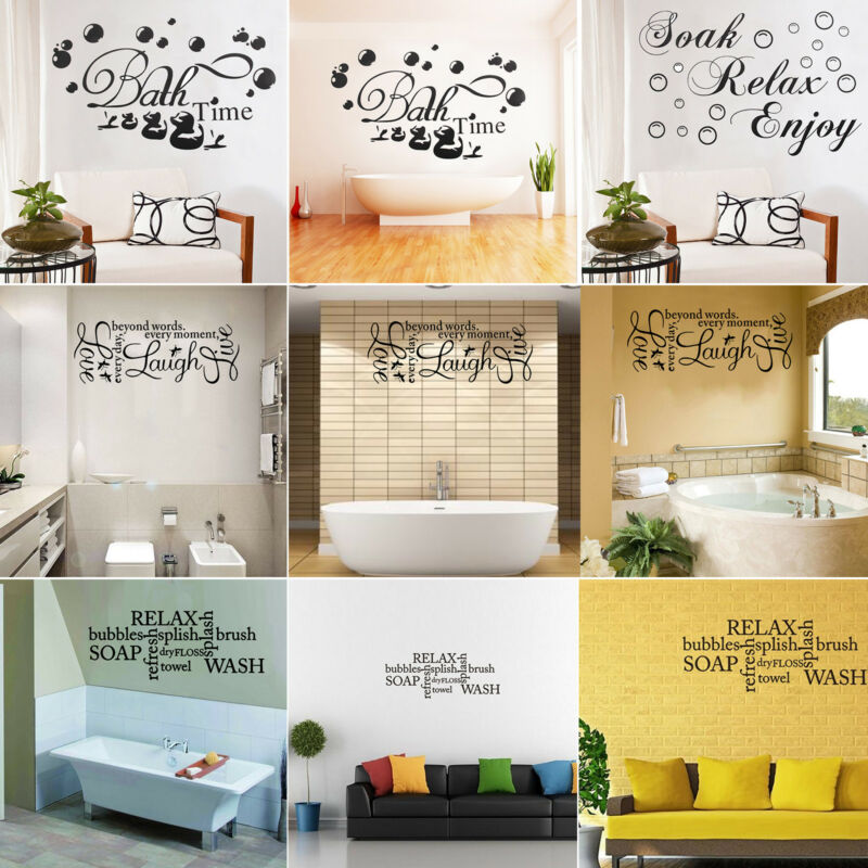 Home Decoration - Soak Relax Enjoy Quote Wall Stickers Art Bathroom Removable Decals Decor DIY