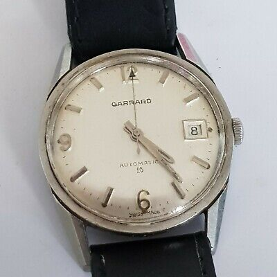 Garrard Stainless Steel Vintage Automatic Date Swiss Made Gents watch (working)