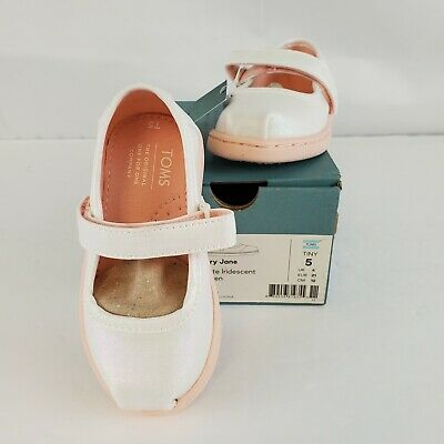 Toms Mary Jane White Iridescent Woven Size Tiny 5 Shoes New