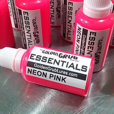 Dye Plastic (NEW 1 OZ. NEON PINK Essentials Dye Color Fishing Soft Plastic Bait Plastisol)