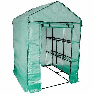 Greenhouse Garden Polytunnel Grow House Steel Frame 8 Shelves 1.4m x 1.4m x 2m