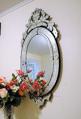 "****48"" x 22"" Clear Venetian Art Deco Mirror Wall Decor, SOLD AS IS!*****"