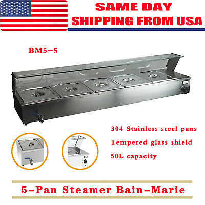 5-pan Steamer Bain-marie Buffet Countertop Food Warmer Steam Table 110v 1500w