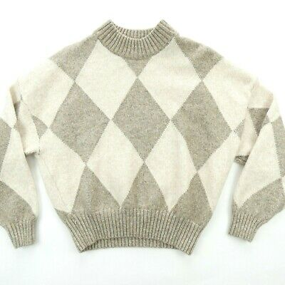 PRINGLE OF SCOTLAND X HM S Argyle Diamond Sweater Wool Blend Oversized Beige