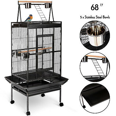 "Large Bird 68"" Parrot Cage Pet Supplies Iron Play Top Finch w/Stand Ladder Wheel"