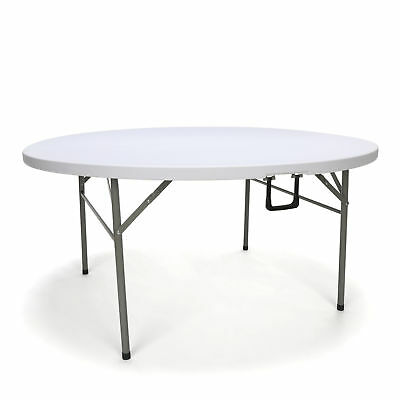Essentials 60 Inch Round Top Center-folding Light Weight White Utility Table