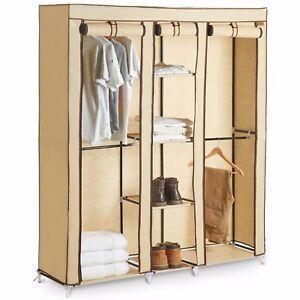 VonHaus Triple Canvas Wardrobe Hanging Clothes Rail, Storage Fabric Extra Large