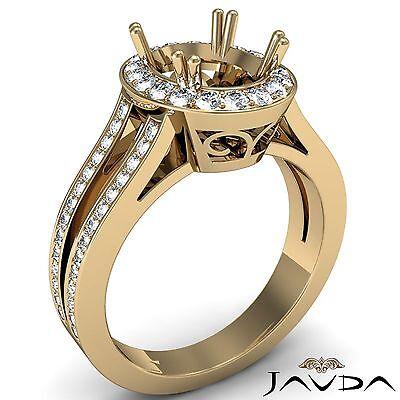 Oval 0.94Ct Semi Mount 18k Yellow Gold Diamond Engagement Split Shank Halo Ring
