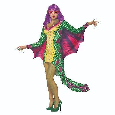 Erwachsene Damen Fantasie Drachen Kleid mit Augenmaske Halloween Kostüm