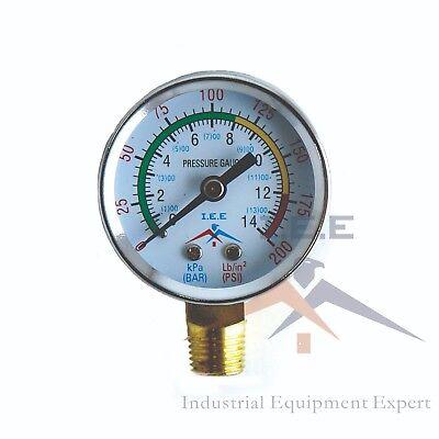 "Air Compressor Pressure / Hydraulic Gauge 2"" Face Side Mount 1/4"" NPT 0-200 PSI"