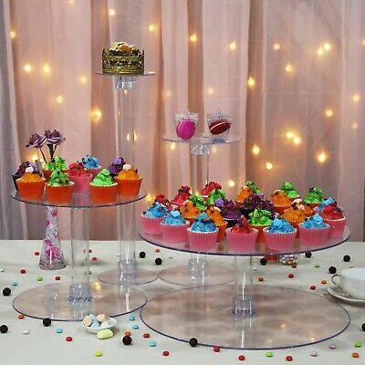 "4 Tiers Cup Acrylic 16"" CupCake Stand Birthday Party Catering Display Decoration"