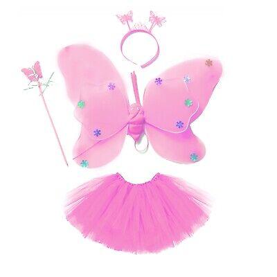 Damen Kostüm Fee Schmetterling Tütü Flügel 4 tlg - Fee Kostüm