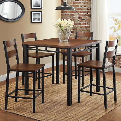 Counter Height Dining Set 5-Piece Chairs and Table Modern Kitchen&Breakfast -