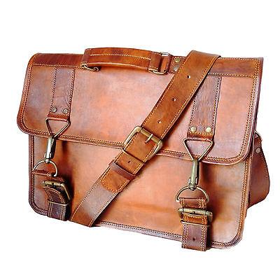 Vintage Handmade Genuine Leather Laptop Shoulder Briefcase Office Bag G92