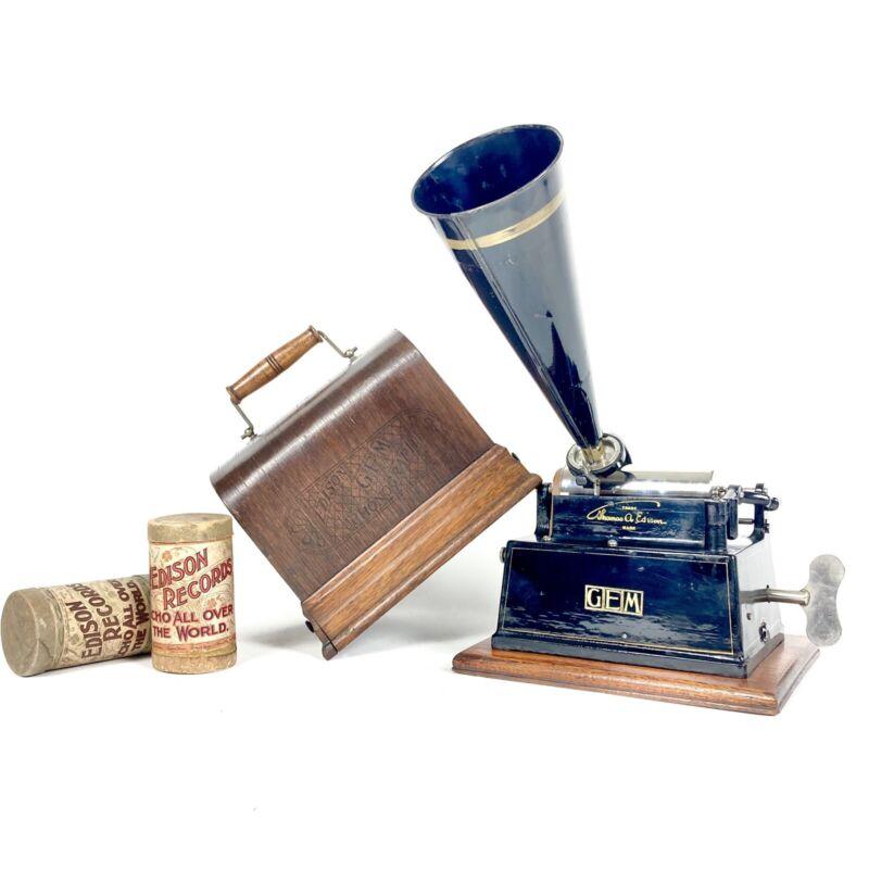 NEAR MINT 1901 Edison Branded Gem Cylinder Phonograph **First Cased Model**