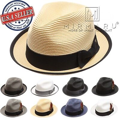 Men Women Lightweight Trilby Fedora Short Curled Brim Hat with Removable Feather (Felt Hat With Feather)