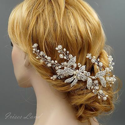 Bridal Hair Comb Freshwater Pearl Crystal Headpiece Wedding Accessories 3 Silver