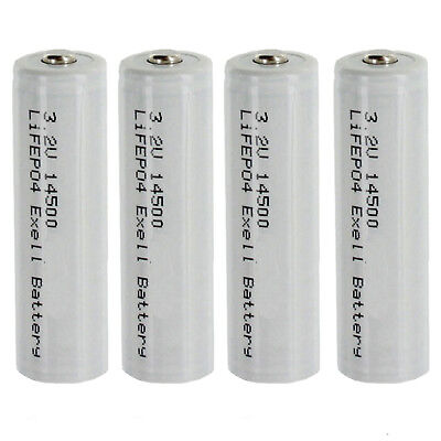 4pk 3.2V 500mAh AA 14500 LiFePO4 Rechargeable Batteries Replaces 30228, 30225