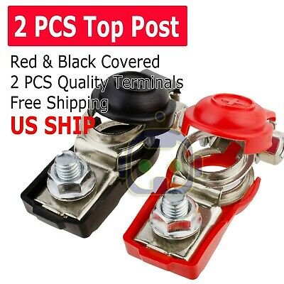 Pair Car Battery Terminal Connector Clamp Clip Negative Positive Red+Black Cover