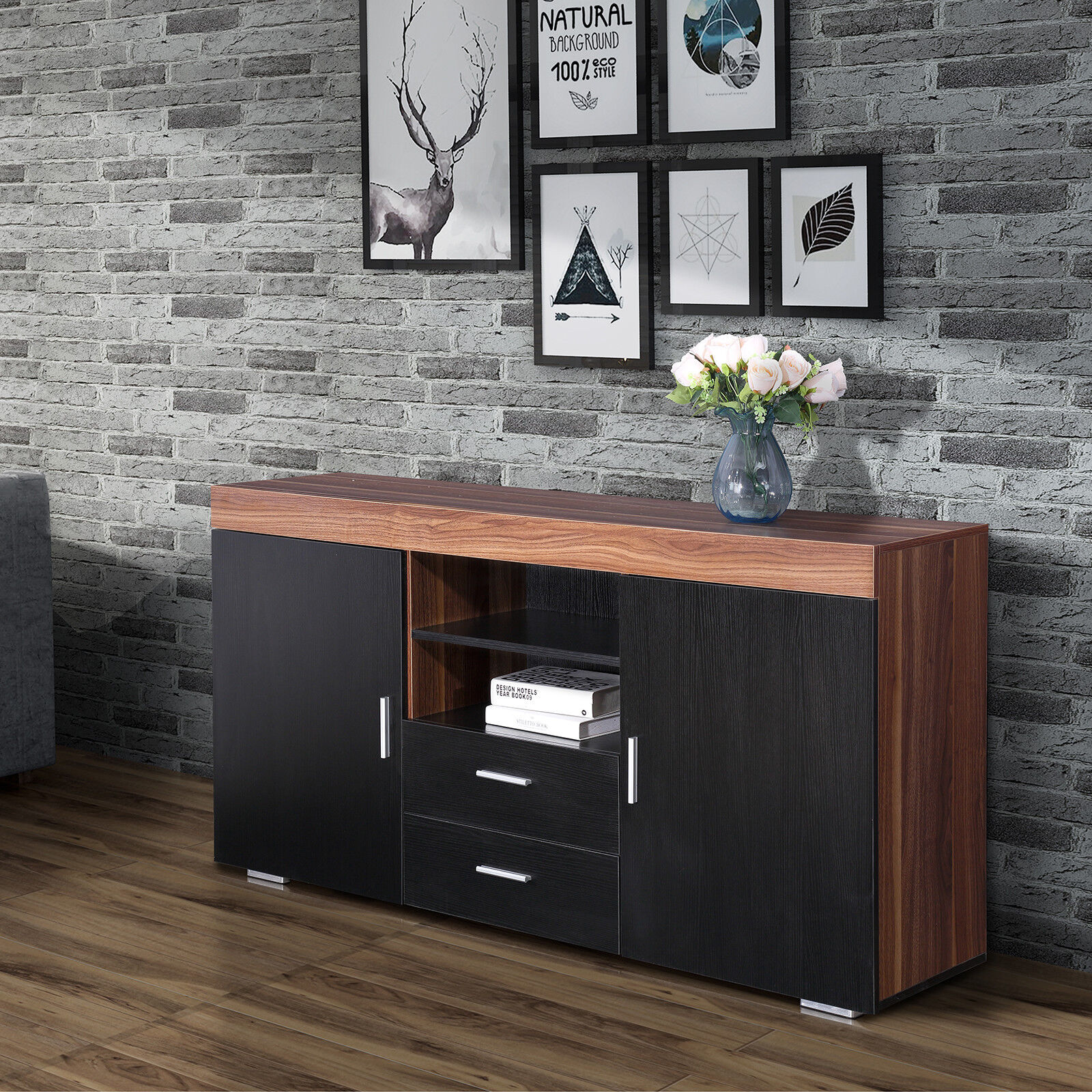 Black Sideboard Cupboard Cabinet with 2 Doors 2 Drawers Dining Room ...