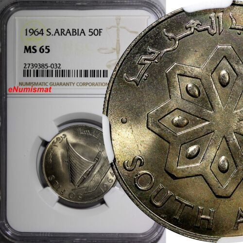 South Arabia 1964 50 Fils NGC MS65 1 YEAR TYPE TOP GRADED BY NGC KM# 4