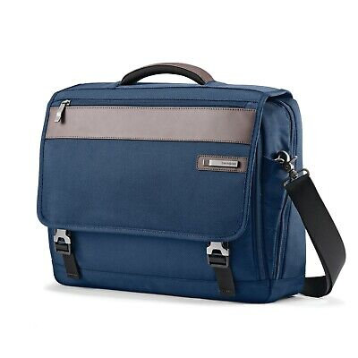 Samsonite Kombi Flapover Legion Blue Nylon & Leather Briefcase