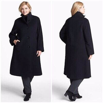 $1,495 Cinzia Rocca Due Black Plus Size Virgin Wool Angora Nylon Long Coat i772