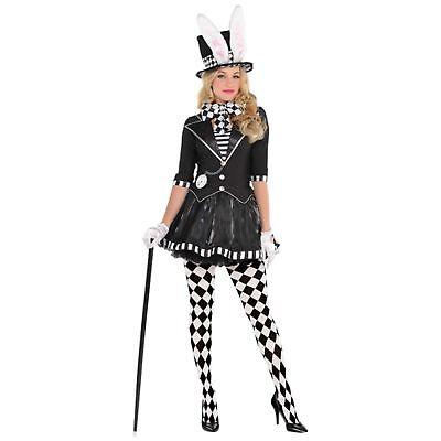 Lady Mad Hatter Costume (Dark Mad Hatter Costume Wonderland Ladies Womens Adults Fancy Dress)