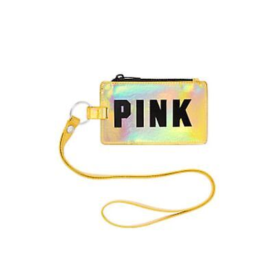 Victorias Secret Pink GRAPHIC GOLD HOLOGRAPHIC Lanyard LIMITED ID Holder NWT