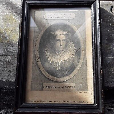 ANTIQUE ENGRAVING/PICTURE OF MARY QUEEN OF SCOTS 1794c