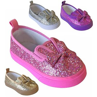 Baby Toddler Girls Bunny Ear Flats Glitter Sequin Bow Slip On Shoe Size 2 to - Bunny Shoes
