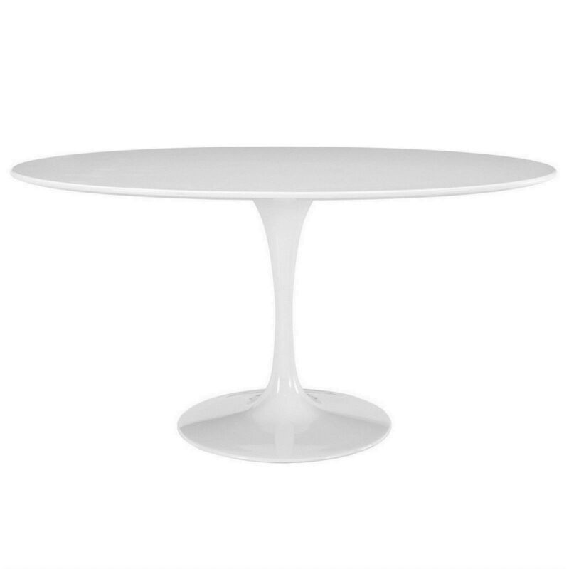 "Lippa 60"" Oval-shaped Wood Top Dining Table W/ Lacquered Finish, White"