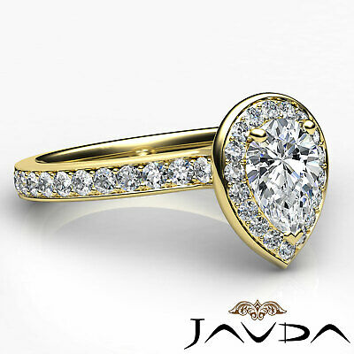 Cathedral Halo Pave Set Pear Cut Diamond Engagement Ring GIA Color F VS1 1.17Ct 9