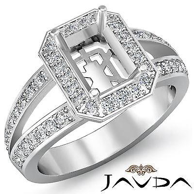 Emerald Semi Mount Ring - Halo Setting Diamond Engagement Emerald Semi Mount Ring 18k White Gold 0.55Ct