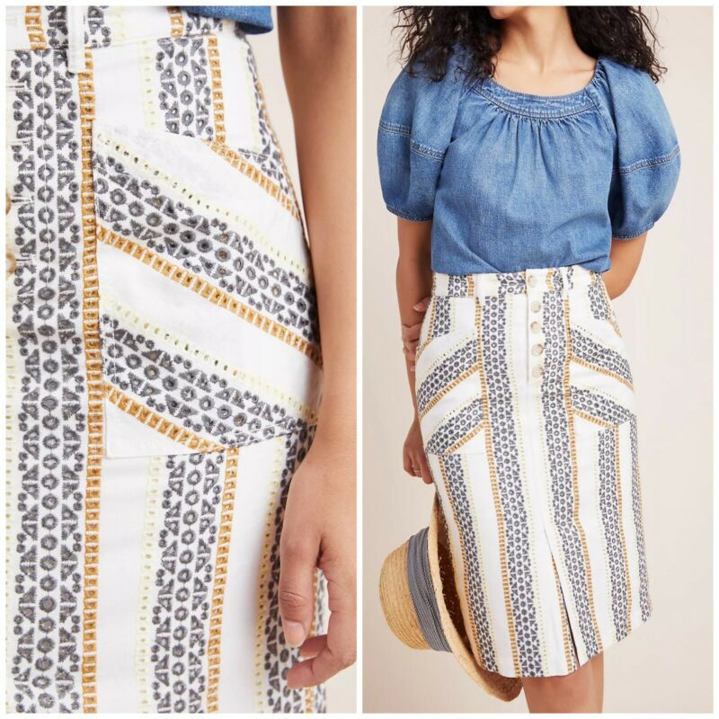 Anthropologie Quincy Eyelet Pencil Skirt White Embroidered Women's Size 14 $120