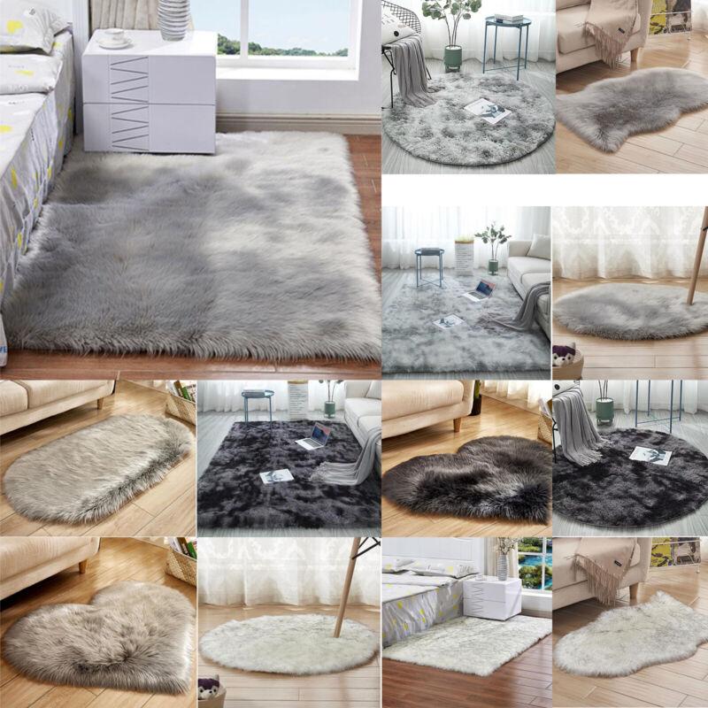 Gray Sheepskin Anti-Skid Carpet Room Home Fluffy Fur Soft Sh