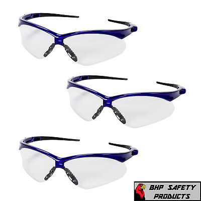 JACKSON NEMESIS SAFETY GLASSES 47384 CLEAR ANTI-FOG LENS BLUE FRAME Z87+ (3 PR)