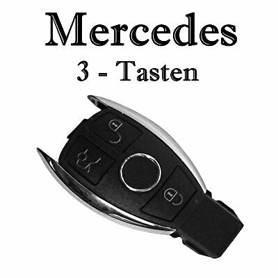 1x Autoschlüssel Chrom Gehäuse für Mercedes 3-Tasten Infra Fernbedienung KS18L