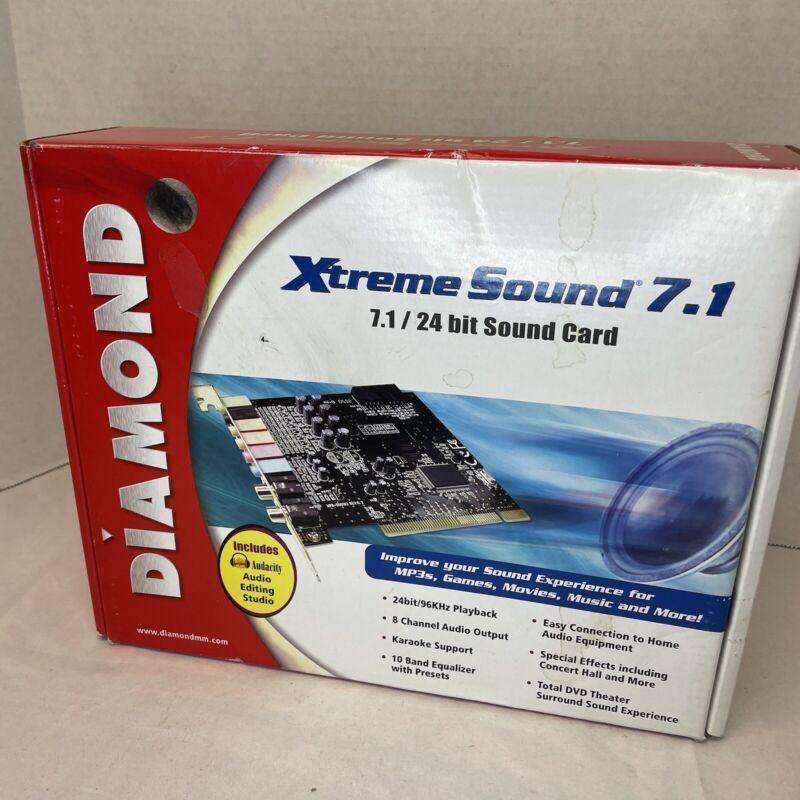 Diamond Xtreme Sound 7.1 24 Bit Sound Card Open Box  Enhanced Audio Games Music