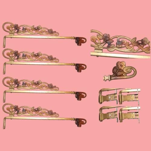 Gorgeous! Antique Art Nouveau Swing Arm Expandable Metal Floral Curtain Rods