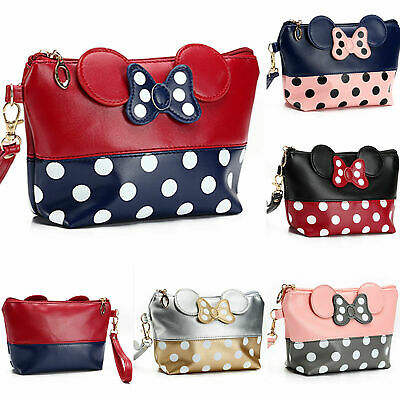 Mickey Mouse Makeup (Cute MINNIE MICKEY MOUSE Polka Dots Travel Case Clutch Bag Handbag Cosmetic)